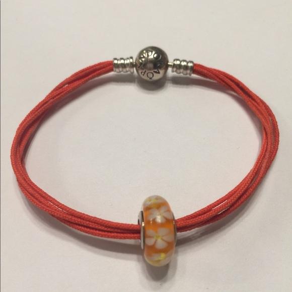 64948c9de Pandora Jewelry | Today Sale Orange Mutistrand Cord Bracelet | Poshmark